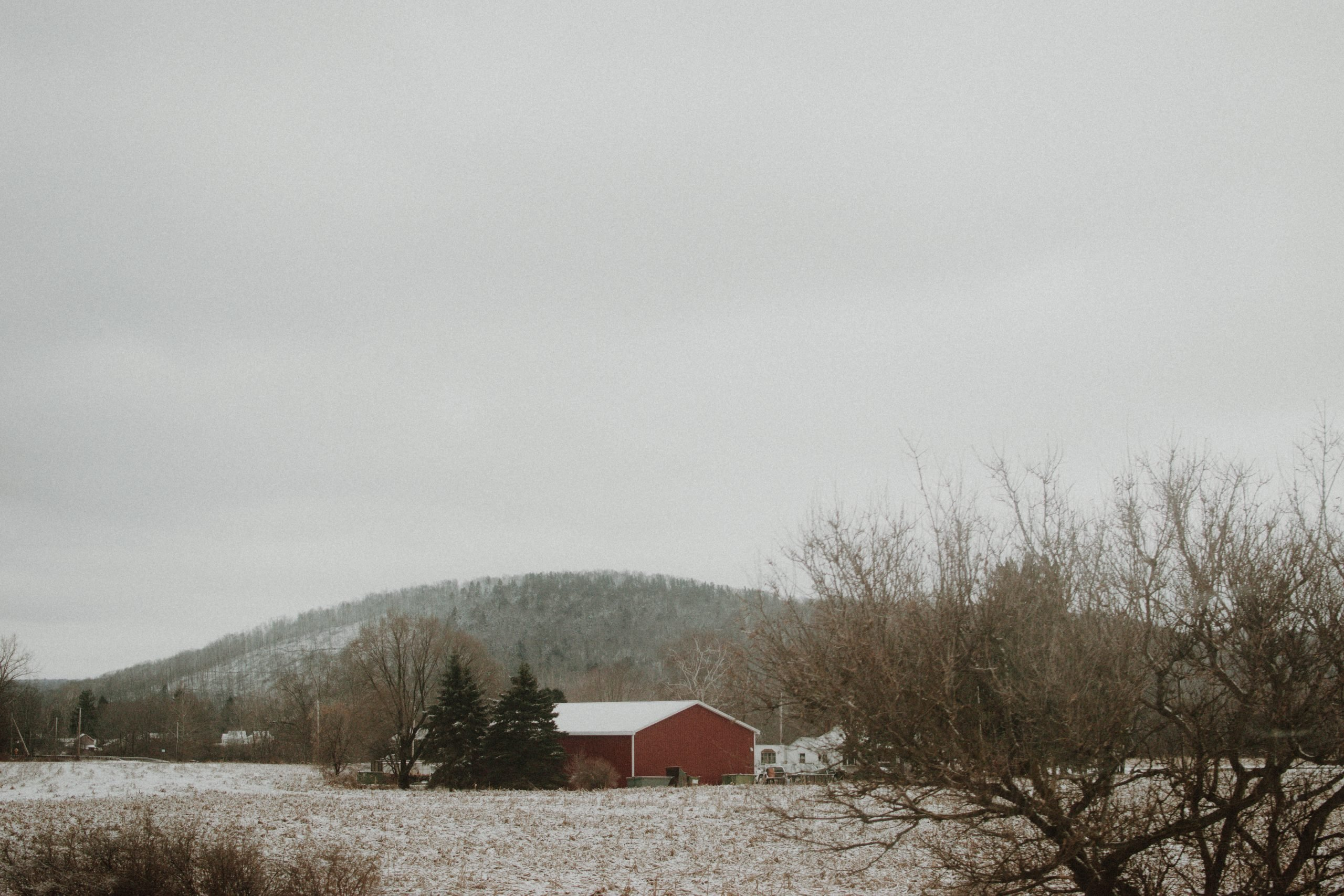 red barn winter scenery